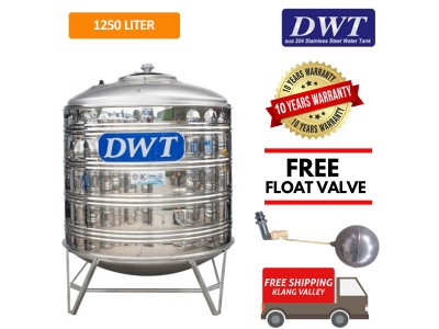 1250 Liter DWT Stainless Steel Water Tank With Stand / Round Bottom