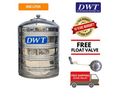 850 Liter DWT Stainless Steel Flat Bottom Without Stand Water Tank