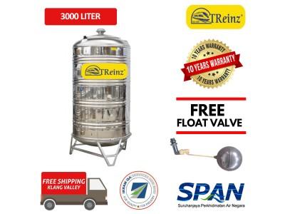3000 Liter Treinz Stainless Steel Water Tank With Stand / Round Bottom