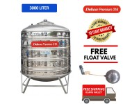3000 Liter Deluxe Premium 316 Stainless Steel Water Tank With Stand