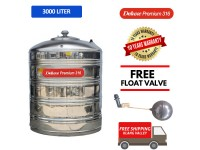 3000 Liter Deluxe Premium 316 Stainless Steel Water Tank Without Stand