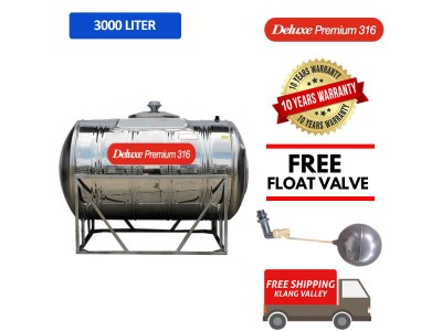 3000 Liter Deluxe Premium 316 Stainless Steel Water Tank Horizontal With Stand