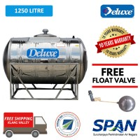 1250 Liter Deluxe Stainless Steel Water Tank Horizontal with Stand