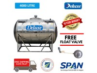 4000 Liter Deluxe Stainless Steel Water Tank Horizontal with Stand