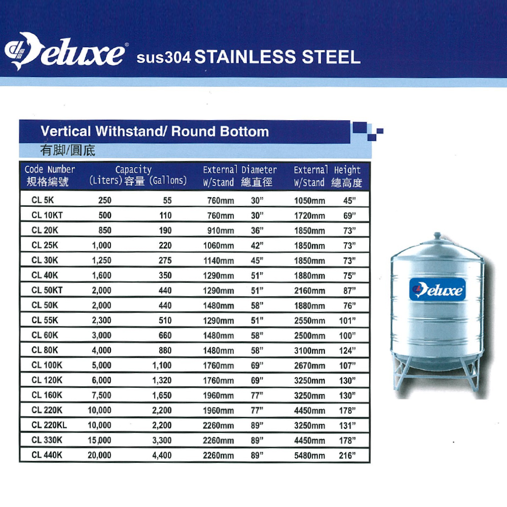 3000 Liter Deluxe Stainless Steel Round Bottom With Stand Water Tank 圆底有脚