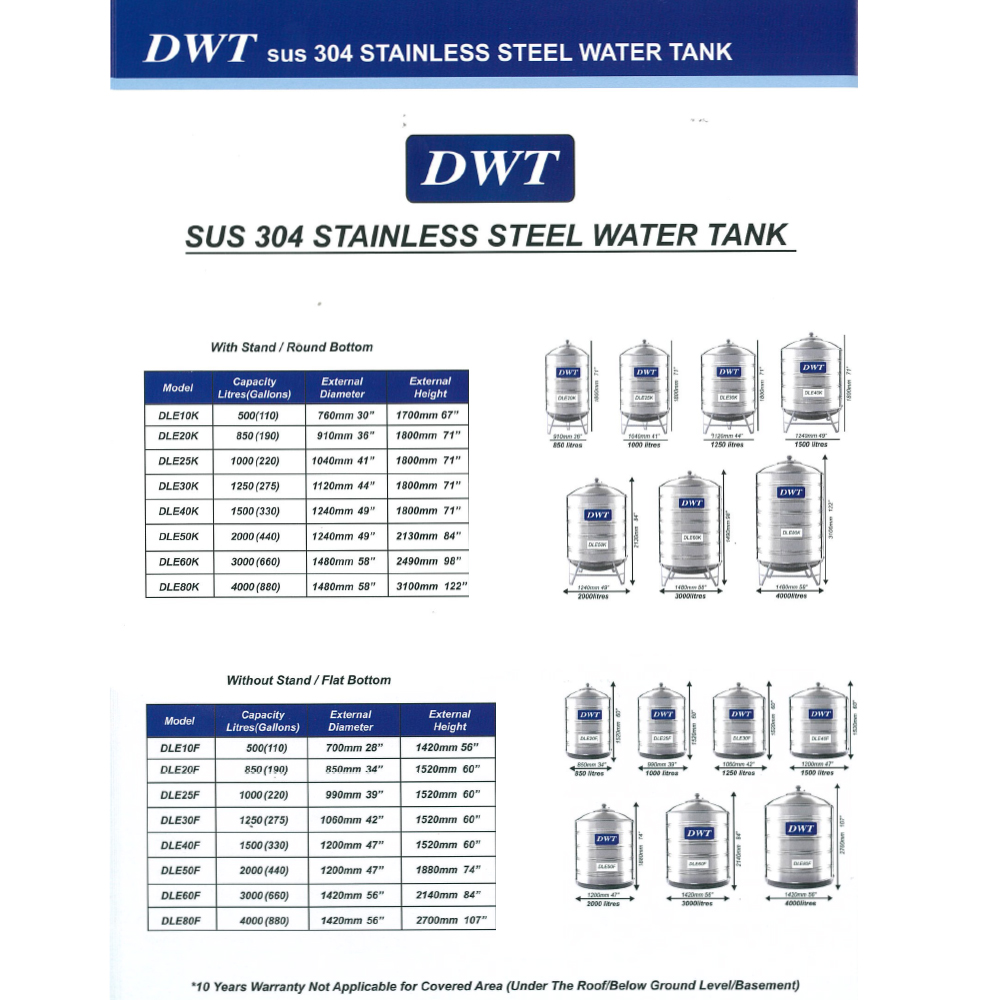 500 Liter DWT Stainless Steel Water Tank With Stand / Round Bottom 圆底有脚
