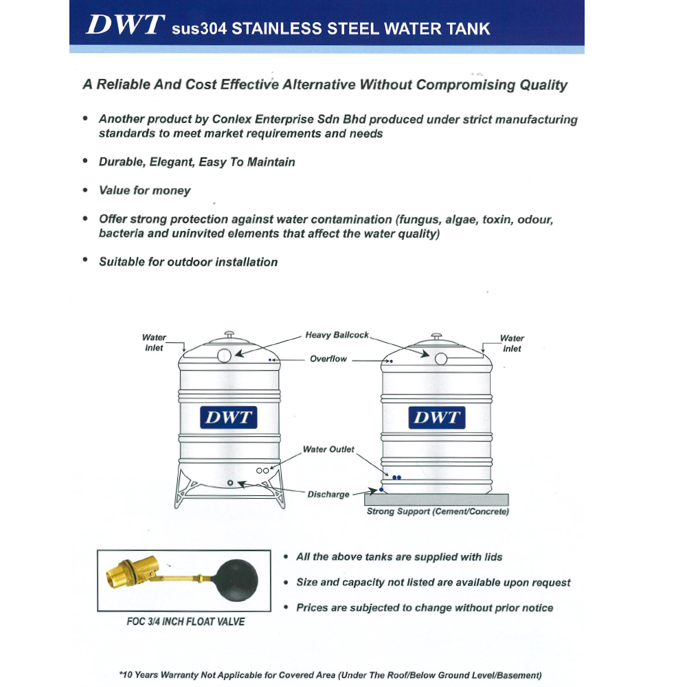 1250 Liter DWT Stainless Steel Flat Bottom Without Stand 平底无脚